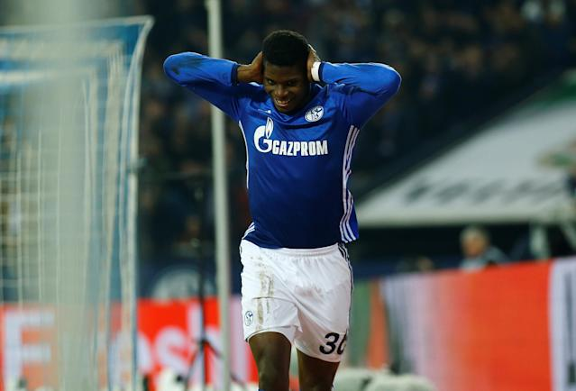 Soccer Football - Bundesliga - Schalke 04 vs TSG 1899 Hoffenheim - Veltins-Arena, Gelsenkirchen, Germany - February 17, 2018 Schalke's Breel Embolo celebrates scoring but his goal is subsequently disallowed REUTERS/Leon Kuegeler DFL RULES TO LIMIT THE ONLINE USAGE DURING MATCH TIME TO 15 PICTURES PER GAME. IMAGE SEQUENCES TO SIMULATE VIDEO IS NOT ALLOWED AT ANY TIME. FOR FURTHER QUERIES PLEASE CONTACT DFL DIRECTLY AT + 49 69 650050