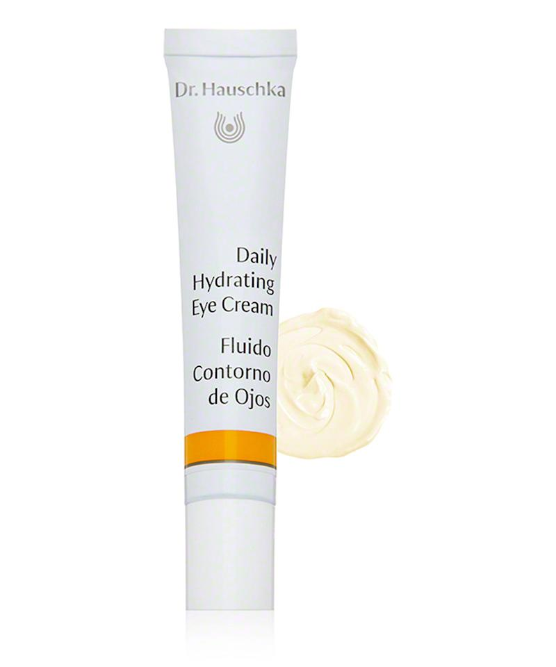 """<p>""""One of my favorite day-to-night eye creams is Dr. Houschka Daily Hydrating Eye Cream. It is super soothing and de-puffs instantly. The texture is creamy and absorbs right away,"""" says makeup artist <a rel=""""nofollow"""" href=""""http://honey-artists.com/div/makeup/artists/azra-red/p/1210/c/-1/"""">Azra Red.</a></p> <p>$55 