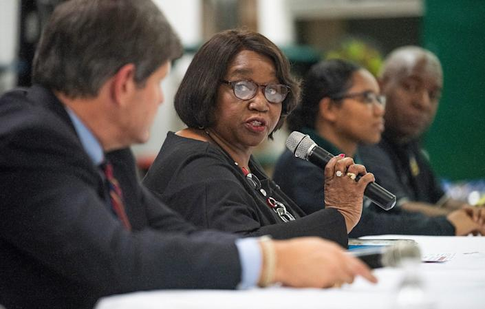 Claudia Mitchell speaks as the Jeff Davis High School Youth in Government Club hosts an education Summit at the school in Montgomery, Ala., on Thursday January 17, 2019.