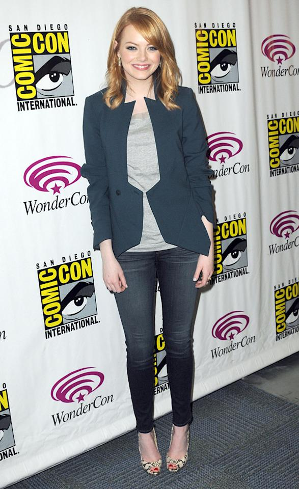 "Emma Stone promotes Sony's ""The Amazing Spider-Man"" at the 2012  WonderCon - Day 2 held at Anaheim Convention Center on March 17, 2012 in  Anaheim, California."