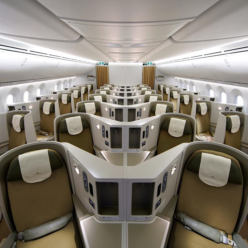 The Vietnam Airlines Boeing 787-9 Dreamliner business-class cabin