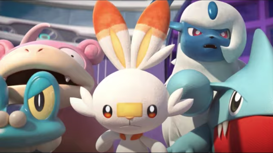 Several Pokemon stand together to prepare for battle.