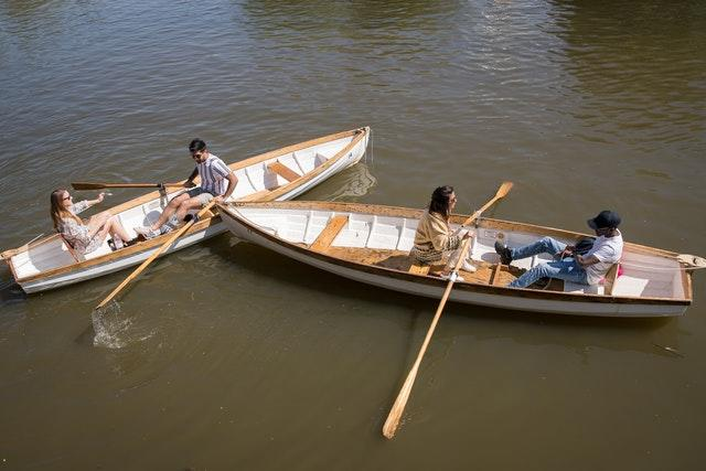 People take boat rides on the river Avon