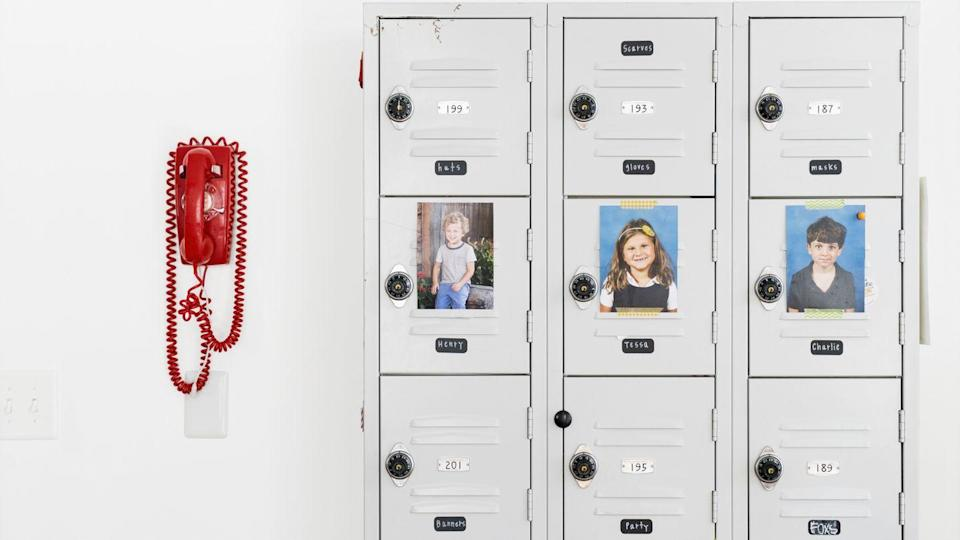 <p>To contain the clutter of school papers, art projects and knickknacks, repurpose lockers from a secondhand store and designate a row for each of your kids.</p>