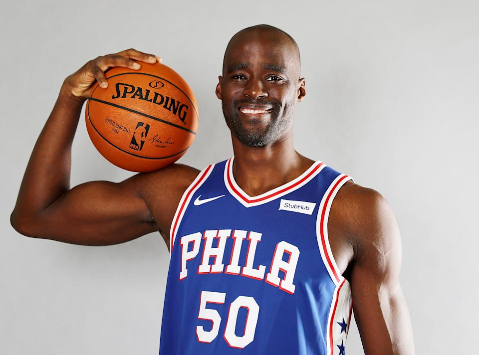 CAMDEN, NJ - SEPTEMBER 25: Emeka Okafor #50 of the Philadelphia 76ers poses for a portrait during the Philadelphia 76ers Media Day on September 25, 2017 at the Philadelphia 76ers Training Complex in Camden, New Jersey.NOTE TO USER: User expressly acknowledges and agrees that, by downloading and/or using this photograph, user is consenting to the terms and conditions of the Getty Images License Agreement.