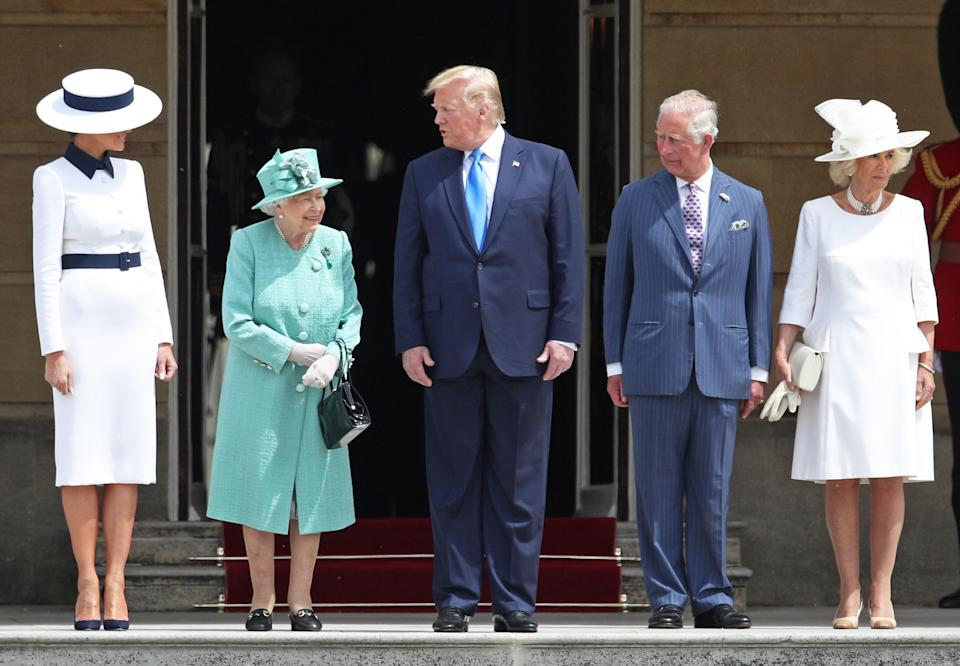US President Donald Trump and his wife Melania are welcomed by Queen Elizabeth II, The Prince of Wales and The Duchess of Cornwall during the Ceremonial Welcome at Buckingham Palace, London, on day one of his three day state visit to the UK.