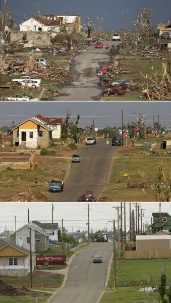 This three-photo combo shows a scene taken on May 23, 2011, top, July 21, 2011, center, and May 7, 2012, bottom, shows progress made in Joplin, Mo. in the year after an EF-5 tornado destroyed a large swath of the city and killed 161 people. (AP Photo/Charlie Riedel)