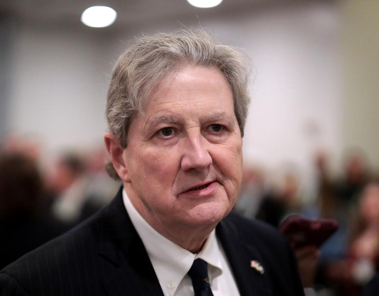 Sen. John Kennedy (R-LA) talks to reporters after attending briefing from administration officials on the coronavirus, on Capitol Hill February 25, 2020 in Washington, DC. (Mark Wilson/Getty Images)