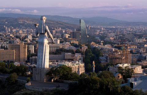 "The Kartlis Deda monument, informally known as ""Mother Georgia,"" looking out over the capital, Tbilisi - Credit: Amos Chapple/RFE/RL"