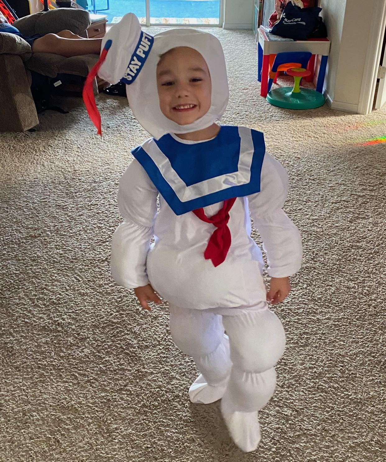 Dakota Baxter, 5, can't wait to trick-or-treat this year in his Stay Puft Marshmallow Man costume. (Photo: Marissa Baxter)