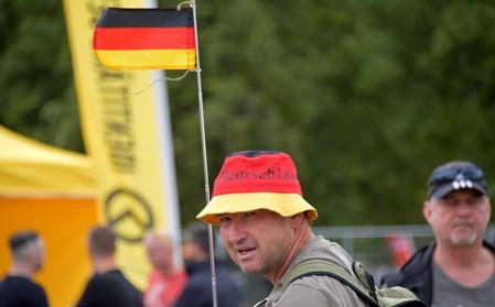 """FILE PHOTO: Members of the far-right """"Identitarian Movement"""" hold a rally in Dresden"""