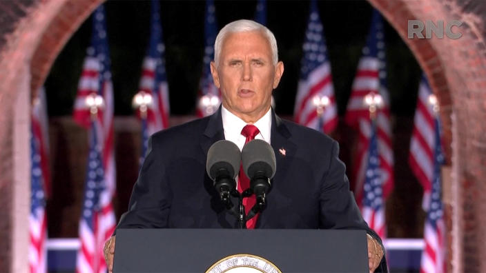 Vice President Mike Pence speaks during the virtual Republican National Convention on August 26, 2020. (via Reuters TV)
