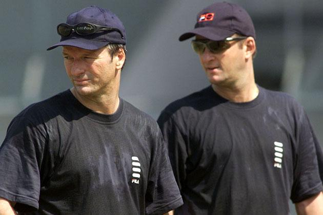 Steve (left) and Mark Waugh of Australia look on, during training at the Cricket Club of India, Mumbai, India. X DIGITAL IMAGE  Mandatory Credit: Hamish Blair/ALLSPORT