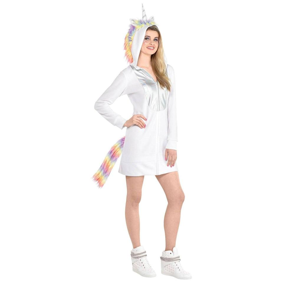 <p>You'll look absolutley charming in this whimsical <span>Adult Unicorn Dress Zipster Halloween Costume</span> ($30). Just add sparkles and glitter to complete the majestic vibe. </p>