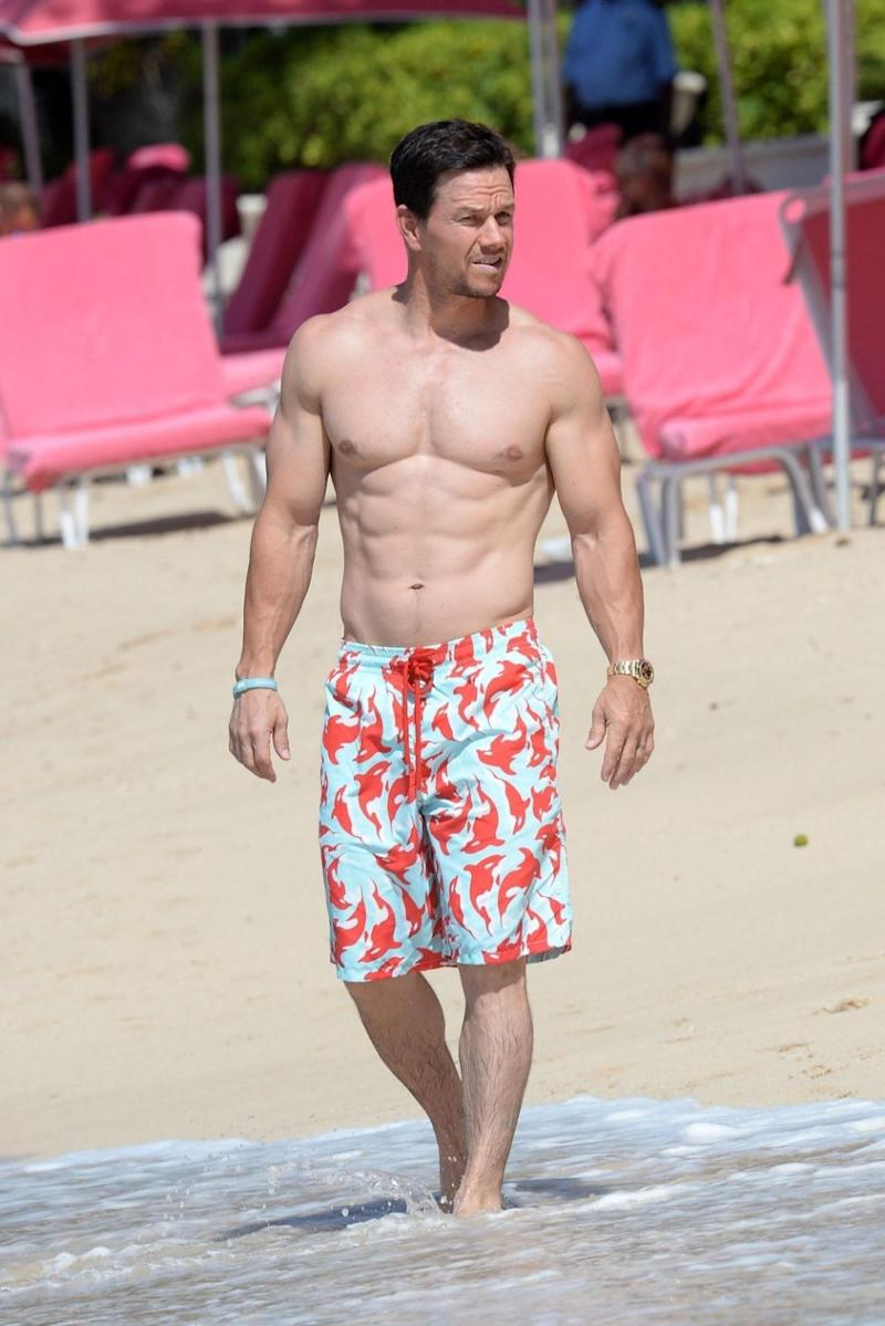 Mark Wahlberg has denied his muscular physique is down to the use of steroids. He is pictured here on holiday in Barbados for the New Year. Source: Backgrid
