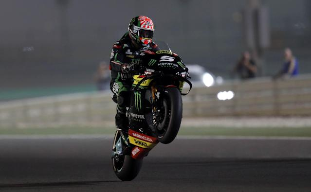 Motorcycle Racing - Qatar Motorcycle Grand Prix - MotoGP Second Qualifying Session - Losail, Qatar, March 17, 2018 - Monster Yamaha Tech 3 rider Johann Zarco of France competes. REUTERS/Ibraheem Al Omari