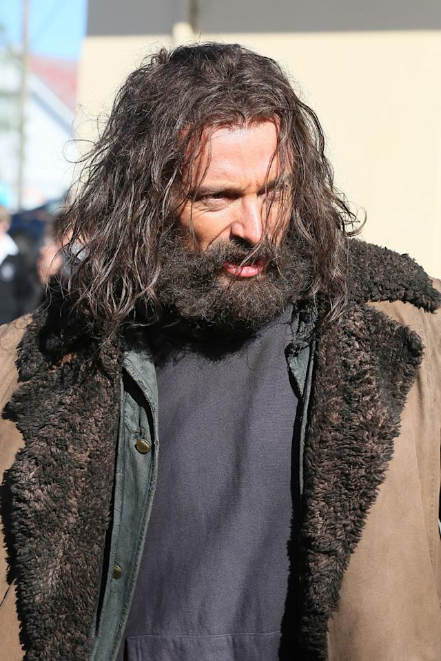 "<b>Hairy Monster</b><br><br>We are used to him looking beastly with his <a href=""http://movies.yahoo.com/movie/xmen-origins-wolverine/photos/xmen-origins-wolverine-stills-slideshow-1808665084/hugh-jackman-x-men-origins-wolverine-trailer-screenshot-20322.html"">Wolverine mutton chops</a>, but Hugh Jackman has taken it ten steps further with this hairy look for the same character. <br><br>A barely recognizable Jackman arrived on set in Australia looking rough and in character for his second day of filming ""The Wolverine,"" a continuation of the ""X-Men"" franchise in which he plays Logan (aka Wolverine). <br><br>The town of Picton, New South Wales -- about 50 miles outside of Sydney -- was transformed into Snowy Canada for the day of filming late last week (Aug. 3, 2012)."