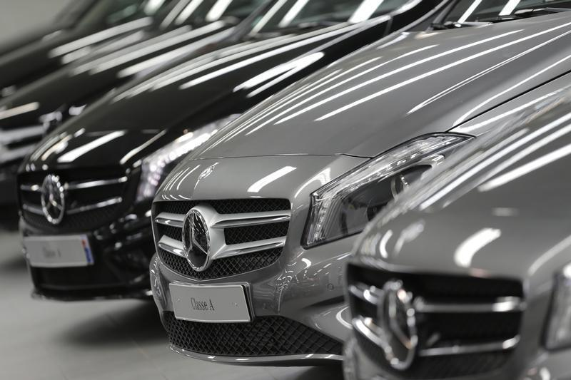 a9e0cf56eca647 Mercedes-Benz A-class cars are displayed in a dealership of German car  manufacturer