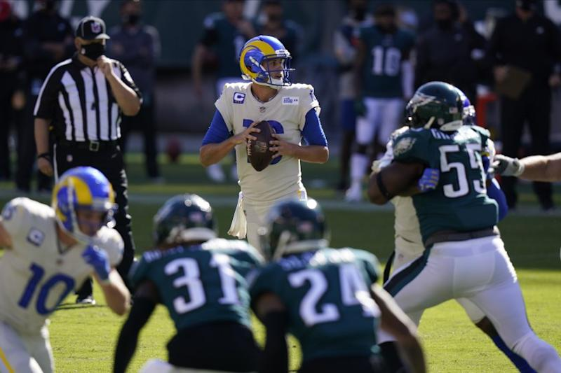 Los Angeles Rams' Jared Goff plays during the second half of an NFL football game against the Philadelphia Eagles.