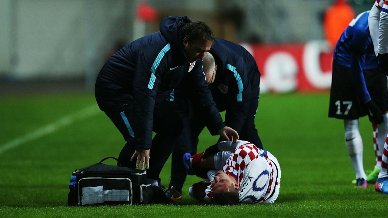 The midfielder was stretchered off during his national side's defeat to Estonia and will now miss the rest of the season