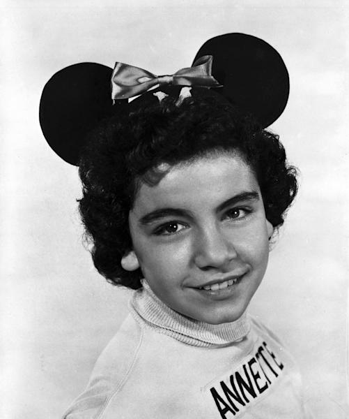 "This circa 1955 publicity photo released by The Walt Disney Company shows Annette (Annette Funicello) as a Mouseketeer from the Original Mickey Mouse Club. The stage at Walt Disney Studios where ""The Mickey Mouse Club"" was filmed is now officially the Annette Funicello Stage. Disney chief Bob Iger led a ceremony Monday, June 24, 2013, dedicating the soundstage to Funicello, the Mouseketeer-turned-movie star who died in April at age 70. (AP Photo/The Walt Disney Company)"