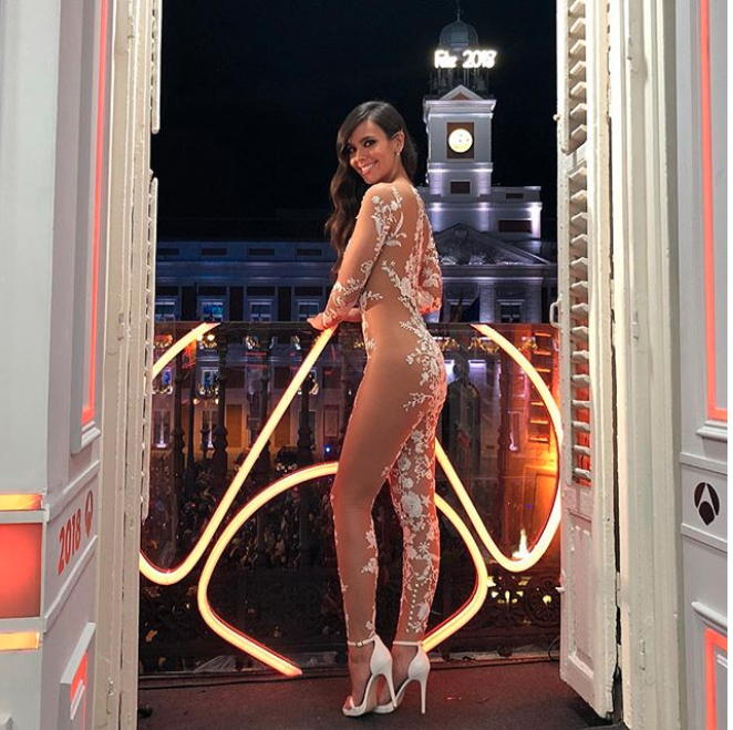 TV presenter Cristina Pedroche wore the jumpsuit for a New Year's Eve party in Madrid. Photo: Instagram