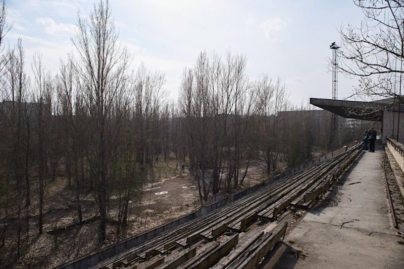 An abandoned stadium in the Pripyat, near the Chernobyl nuclear power plant in the Exclusion Zone, Ukraine. (Photo: Vitaliy Holovin/Corbis via Getty images)