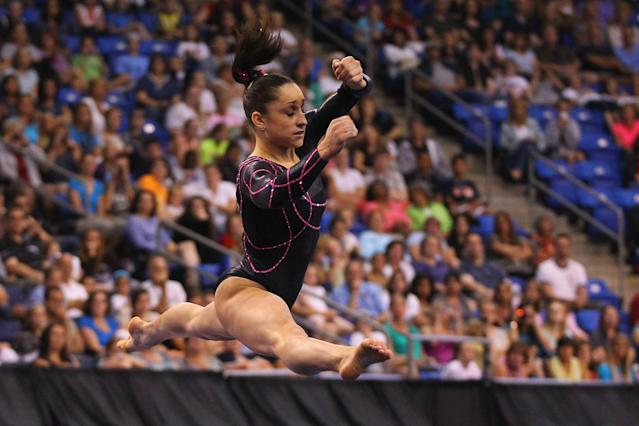 ST. LOUIS, MO - JUNE 8: Jordyn Wieber competes in the floor event during the Senior Women's competition on day two of the Visa Championships at Chaifetz Arena on June 8, 2012 in St. Louis, Missouri. (Photo by Dilip Vishwanat/Getty Images)