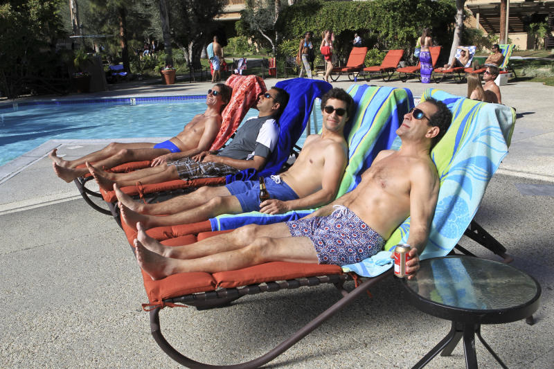 "This publicity image released by CBS shows, from left, Jerry O'Connell, Kal Penn, Chris Smith, and Tony Shalhoub in a scene from ""We Are Men."" CBS is canceling the freshman sitcom ""We Are Men."" The Monday night comedy about four bachelors failed to gain traction with viewers and is now among the new season's early ratings casualties. (AP Photo/CBS, Sonja Flemming)"