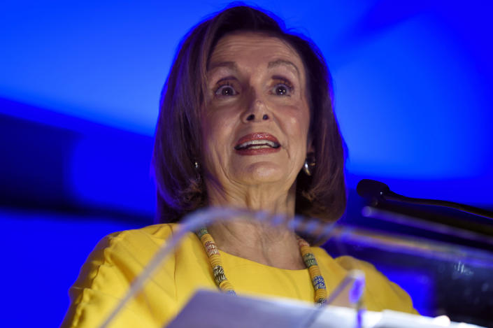 House Speaker Nancy Pelosi addresses a gathering of the South Carolina Democratic Party on Friday, Oct. 4, 2019, in Greenville, S.C. (AP Photo/Meg Kinnard)