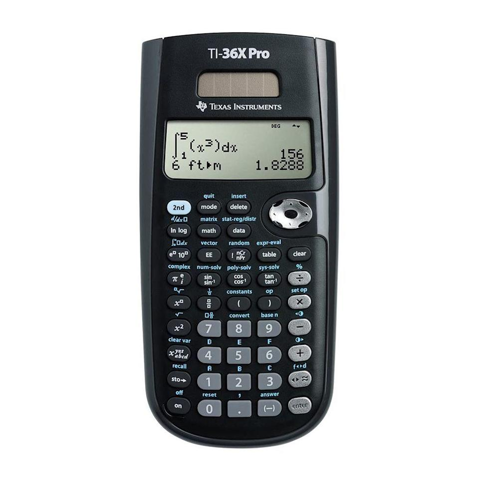 """<p><strong>Texas Instruments</strong></p><p>amazon.com</p><p><strong>$18.97</strong></p><p><a href=""""https://www.amazon.com/dp/B004NBZB2Y/?tag=syn-yahoo-20&ascsubtag=%5Bartid%7C2089.g.37199069%5Bsrc%7Cyahoo-us"""" rel=""""nofollow noopener"""" target=""""_blank"""" data-ylk=""""slk:Shop Now"""" class=""""link rapid-noclick-resp"""">Shop Now</a></p><p>Despite its sub-$20 price point, the TI-36X Pro has a lot going for it, and it'll be a lifesaver in your high schooler's math class. This guy can solve integrals, linear equations, and the roots of a quadratic. It's sturdy, easy to use, and perfect for classes that don't allow students to use graphic calculators.</p>"""