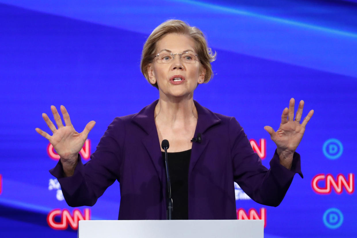 Democratic presidential candidate Sen. Elizabeth Warren, D-Mass., speaks in a Democratic presidential primary debate hosted by CNN/New York Times at Otterbein University, Tuesday, Oct. 15, 2019, in Westerville, Ohio. (AP Photo/John Minchillo)