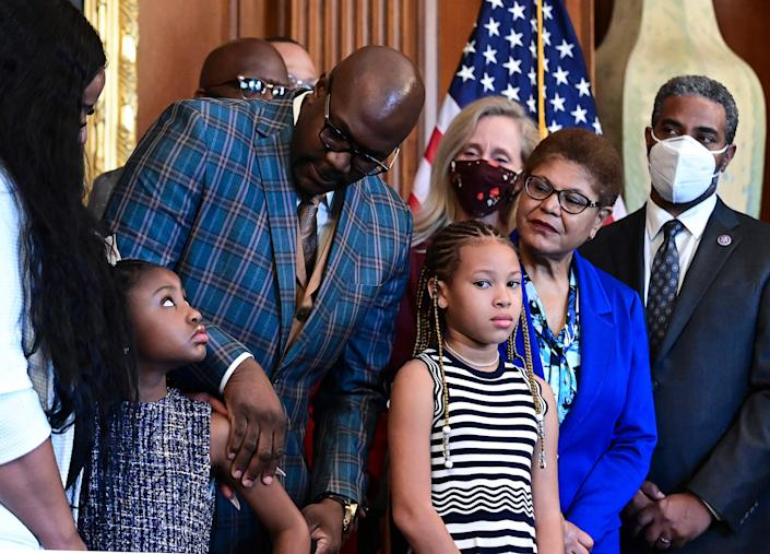 Members of George Floyd's family met with President Joe Biden and lawmakers to mark the anniversary of Floyd's death.