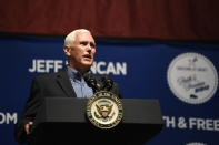 Vice President Mike Pence speaks Monday, Aug. 26, 2019, at U.S. Rep. Jeff Duncan's annual fundraiser in Anderson, S.C. (AP Photo/Meg Kinnard)
