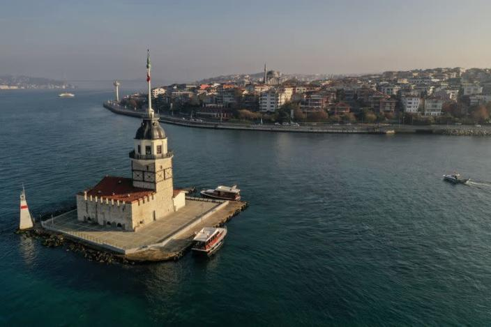 Drone footage reveals Maiden's Tower, an islet on the Bosphorus which dates back to 341 B.C. during a two-day curfew which was imposed to prevent the spread of the coronavirus disease (COVID-19), in Istanbul