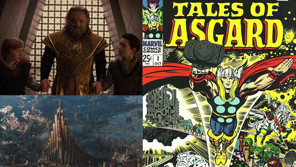 The flashbacks from the original Thor film, and the cover for Marvel Comics' Tales of Asgard series.