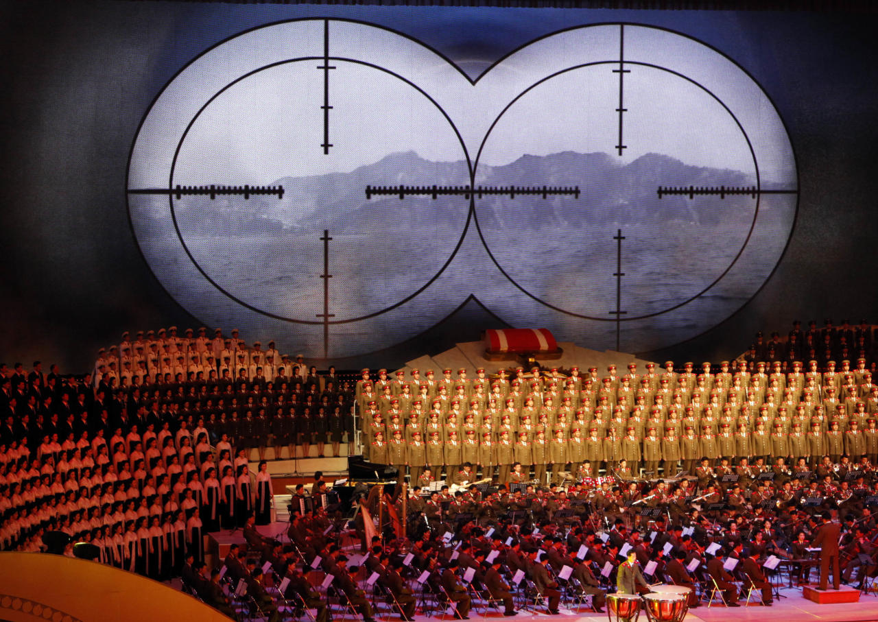 A targeting sight is shown during a concert on the eve of the 80th anniversary of the founding of the North Korean army in Pyongyang, North Korea, Tuesday, April 24, 2012. (AP Photo/Ng Han Guan)