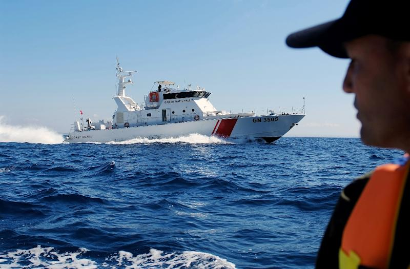 A file picture taken on March 30, 2017 shows the Tunisian coastguard on patrol of the area off the northern town of Bizerte (AFP Photo/MOHAMED KHALIL)