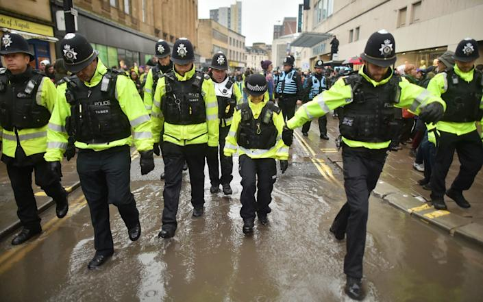 There was a heavy police presence on a rainy day in Bristol - Ben Birchall/PA