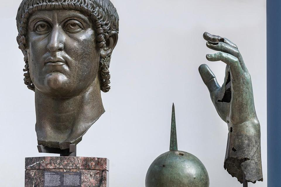 A bronze statue of Constantine the Great with his finger returned at the Capitoline Museums