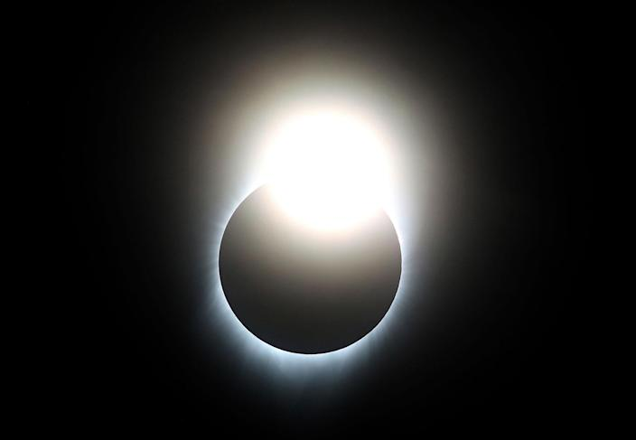 """<p>AUG. 21, 2017 – A near total eclipse is seen from South Mike Sedar Park in Casper, Wyoming. Millions of people have flocked to areas of the U.S. that are in the """"path of totality"""" in order to experience a total solar eclipse. During the event, the moon will pass in between the sun and the Earth, appearing to block the sun. (Photo: Justin Sullivan/Getty Images) </p>"""