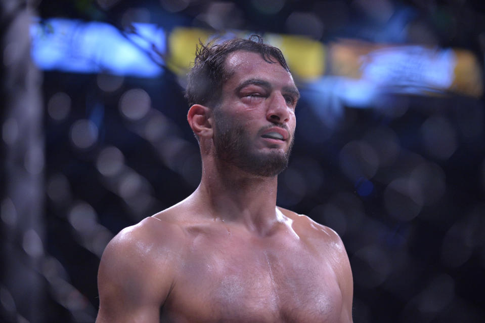 Bellator middleweight champion Gegard Mousasi will defend against Rory MacDonald on Sept. 29 in a bout streamed on DAZN. (Getty Images)