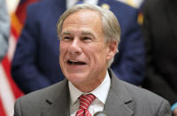 Texas Gov Greg Abbott speaks before signing Senate Bill 1, also known as the election integrity bill, into law in Tyler, Texas, Tuesday, Sept. 7, 2021. (AP Photo/LM Otero)