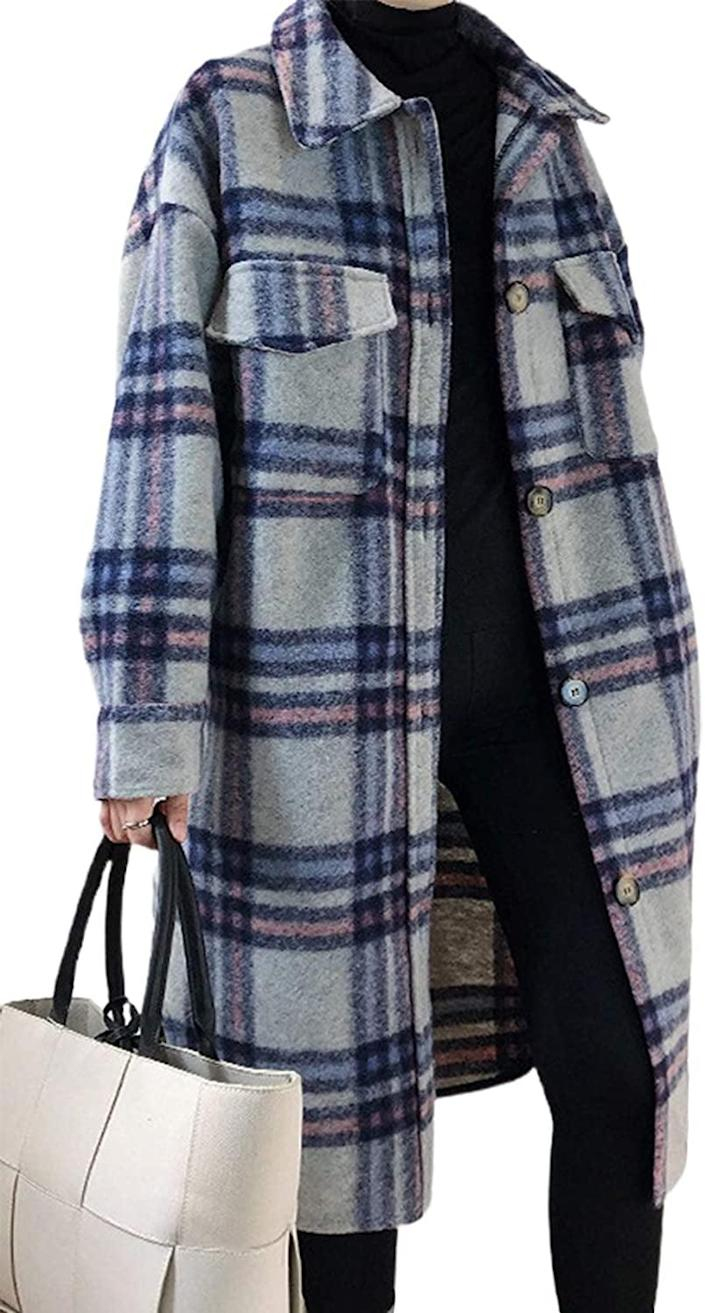 <p>Keep your legs warm too with this chic <span>Chartou Wool-Blend Plaid Midi Long Shacket</span> ($69).</p>