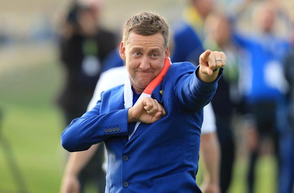 Ian Poulter celebrates after Europe's Ryder Cup win at Le Golf National (Gareth Fuller/PA) (PA Archive)