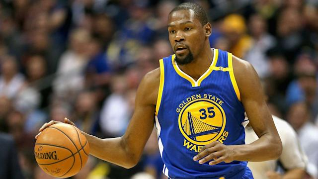 Golden State is being cautious with its star small forward after he strained his left calf during Game 1.