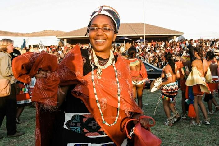 Queen Shiyiwe Mantfombi Dlamini Zulu, pictured in 2004 at the annual Umkhosi woMhlanga (Reed Dance) festival in Nongoma