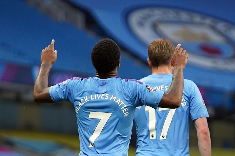 <strong>Manchester City's Raheem Sterling celebrates scoring the opening goal during the Premier League match at the Etihad Stadium, Manchester.</strong> (Photo: PA)