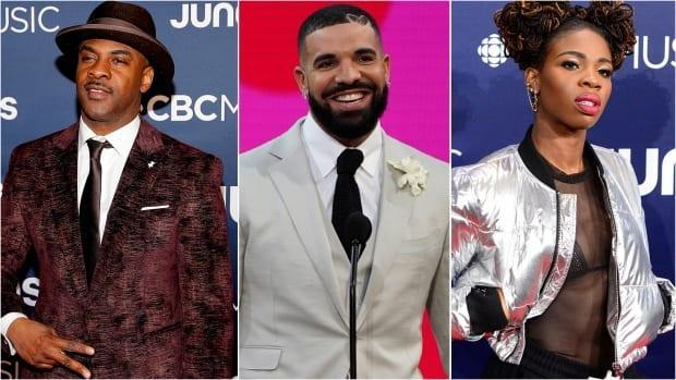 Despite its complex history, Canadian rap music is thriving thanks to pioneers like Maestro Fresh Wes, left, global superstar, Drake, centre, and emerging talent like Haviah Mighty, right, who have each put their own stamp on the genre. (Getty Images, Chris Pizzello/Invision/The Associated Press, The Canadian Press - image credit)