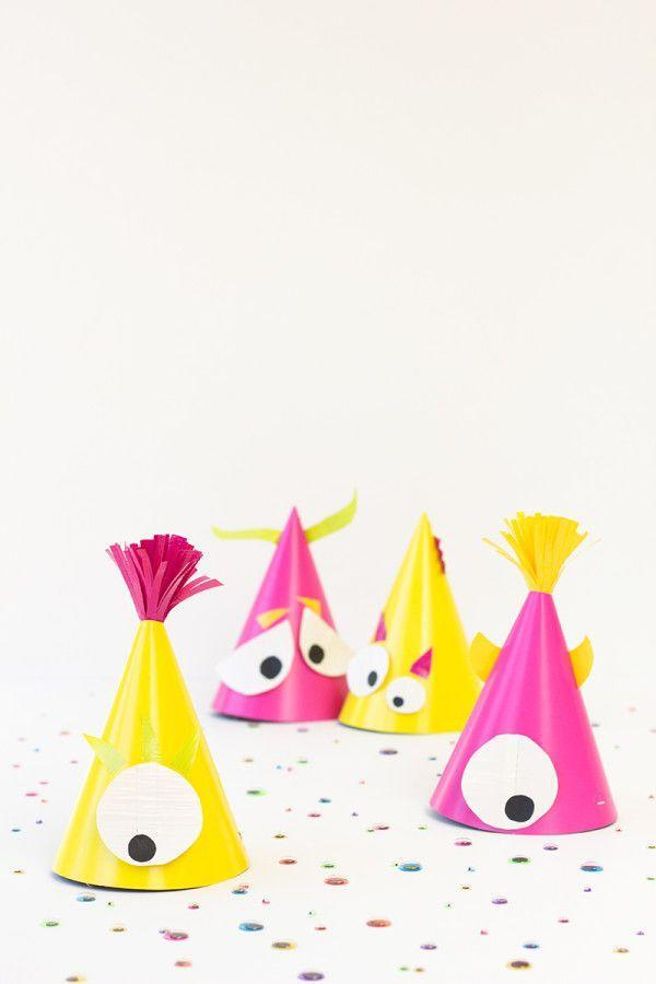 "<p>""Spooky"" and ""scary"" isn't for every kid, but ""silly"" typically is. Try a brightly colored, more whimsical craft instead, like these hilarious monster party hats.</p><p><strong>Get the tutorial at <a href=""https://studiodiy.com/2013/09/30/diy-monster-party-hats/"" rel=""nofollow noopener"" target=""_blank"" data-ylk=""slk:Studio DIY"" class=""link rapid-noclick-resp"">Studio DIY</a>.<br><br><a class=""link rapid-noclick-resp"" href=""https://www.amazon.com/Hot-Pink-Party-Hats-8ct/dp/B0016KZ91S?tag=syn-yahoo-20&ascsubtag=%5Bartid%7C10050.g.4950%5Bsrc%7Cyahoo-us"" rel=""nofollow noopener"" target=""_blank"" data-ylk=""slk:SHOP PARTY HATS"">SHOP PARTY HATS</a><br></strong></p>"
